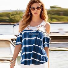 New Fashion Women Casual Off Shoulder Lace Patchwork Tops Blouse WST