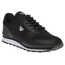 New Mens Armani Jeans Black Knit Runner Nylon Trainers Running Style Lace Up