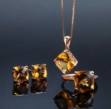 18k Rose Gold GP Austria crystal Topaz corundum Necklace Earrings Ring Set chain