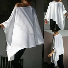 New Women Casual O-Neck Solid Batwing Sleeve Loose T-Shirt Blouse WST