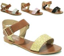 WOMENS GLADIATOR BUCKLE SANDALS NEW FLAT STRAPPY DIAMANTE SUMMER BEACH SHOES
