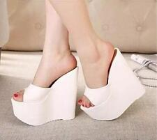 Womens wedge super high heel peep toe sandals shoes nightclub Slippers Mules New