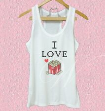 I love popcorn shirt Snack quotes XS S M L XL white tank top/ Grey tee/ dress