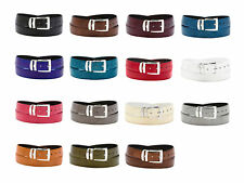 Men's Wide Bonded Leather Belt in Colors LIZARD Skin Pattern Silver-Tone Buckle