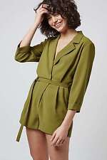 Topshop Wrap Front Green Playsuit Size 8 10