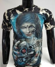 Tie Dye Gothic T Shirt Short Sleeve crew Neck Ghost Skeleton lady Printed Tops