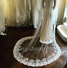 Wedding Veils Lace Applique 1T White Ivory Cathedral Bridal Veil With Comb 2017