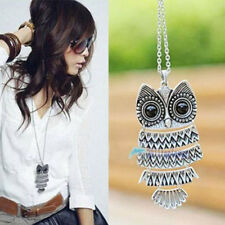 New Women Fashion Vintage Style Bronze Owl Long Chain Necklace Pendant O1N