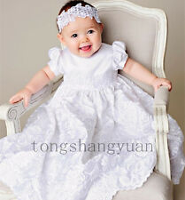 Baby Baptism Gowns Lace Applique White Ivory Christening Dresses + Headband New
