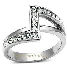 Women's High Polished 316L  Stainless Steel Top Grade Crystal Fashion Ring Size