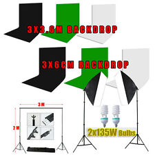 Photography Studio Muslin Backdrop Background Stand Softbox Soft Box Lighting AU
