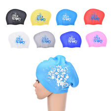 Women swimming caps Silicone Long Hair Girls Waterproof Swimming Cap Ear Cup E4J