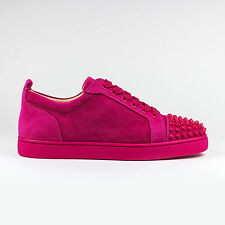 Authentic Christian Louboutin Louis Junior Spikes Suede Rosa Mat Pink Sneakers