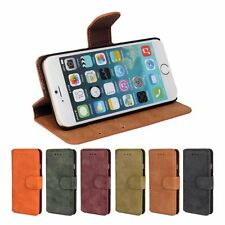 Vintage Retro Matte Wallet Flip Cover Leather Case With Card Holder fof iPhone