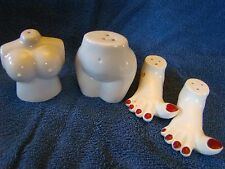 VINTAGE SALT PEPPER SHAKER SET RISQUE NAKED LADY NAUGHTY NUDE PIN UP FEET LEGS 4
