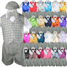 7pc Baby Boy Toddler Formal Grey Vest Shorts Check Suit Extra Bow Tie Set S-4T