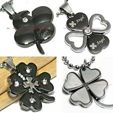 HPEM0204 STAINLESS STEEL FOUR LEAF CLOVER FAITH HOPE LOVE LUCK PENDANT NECKLACE