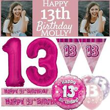 Pink Age 13 Happy 13th Birthday Party Decorations Banners Bunting Girls