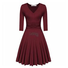 Women V-Neck 3/4 Sleeve Ruched Waist Casual Party Swing Dress LEBB