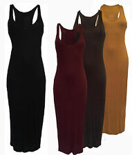 NEW WOMENS RACER BACK STRAPPY PLAIN FITTED LONG BODYCON MIDI DRESS SLEEVELESS