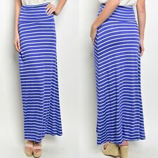 Jersey Knit Maxi Skirt in Stripe New S M L Lapis Blue and Mint Stretchy