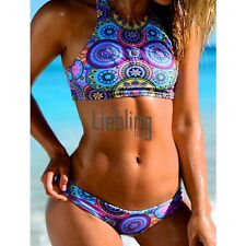Women Sexy Two Pieces Swimwear Swimsuit Beach Wear Halter Sleeveless Tank LEBB