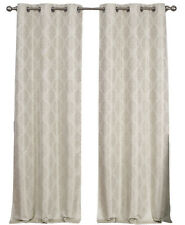 Paisley Pair Blackout Grommet Curtains, Jacquard Thermal Insulated Beige Panels