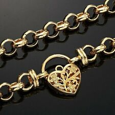 18ct Yellow Gold-Layered Filigree Heart Belcher Chain Necklaces