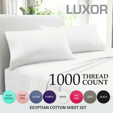 All Size NEW 1000TC EGYPTIAN COTTON 4 Piece Bed Fitted,Flat Sheet Set Pillowcase