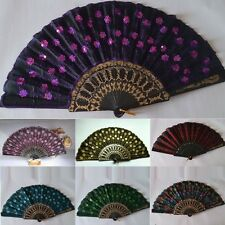 Summer Embroidered Tail Folding Sequins Pocket Hand Held Fan Party Decor Fan