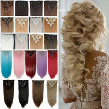 Full Head 100% New 8 Pcs 18 Clips Clip In Hair Extensions Long Straight Wavy Nc8