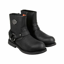 Harley-Davidson Scout Mens Black Leather Casual Dress Zip Up Boots Shoes