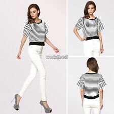 Stylish Lady Women's Fashion Casual Striped Loose Top Short Sleeve T-Shirts WST