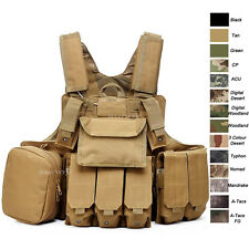 Camouflage Body Armor Combat Assault Tactical Pouch Molle Vest Plat Carrier Vest
