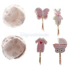 24 sets Cupcake Wrapper Butterfly Rabbit Flower Cake Toppers Jelly Cup Birthday