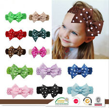 Handmade Newborn Baby Girl Kid Hot Polka Dot Hair Bow Headband Hair Accessories