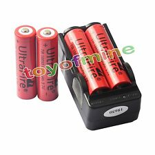 4x 3.7V 18650 UF Li-ion 6800mAh Rechargeable Battery for LED Torch + Charger