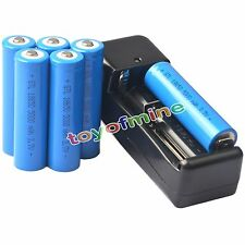 6x 3.7V 18650 GTL Li-ion 5000mAh Rechargeable Battery +Universal Charger