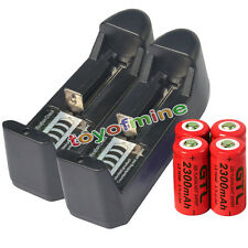 4x 16340 CR123A 123A 3.7V 2300mAh Rechargeable Battery Cell Red + 2x Charger