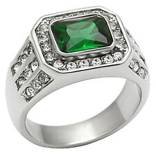 2.62 Ct Emerald Cut Green Emerald Simulated Stainless Steel Ring Size 8-13