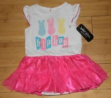 New Baby Glam Easter Hip Hop Bunny Tutu Bodysuit Skirted Creeper NB 3M 6M 9M