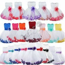 Flower Girl Kid Formal Christening Wedding Party Bridesmaid Princess Tulle Dress