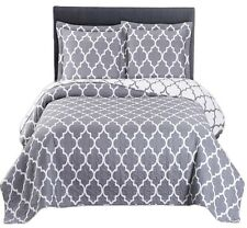 Gray & White Meridian Coverlet 3PC Set,Oversized Luxury Microfiber Printed Quilt