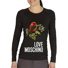 Black Women Top Tee T-shirt Blouse Long Sleeve Bird Love Moschino