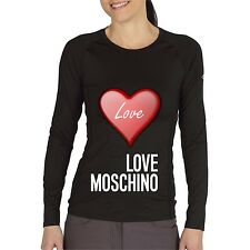 Black Women Top Tee T-shirt Blouse Long Sleeve Heart Love Moschino