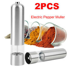 2PCS Electric Stainless Steel Kitchen Tool Salt Pepper Mill Grinder Mull GF