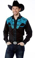 WESTERN COWBOY Men Black Tooled Long Sleeve Blue Embroidery DRESS CASUAL SHIRT
