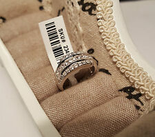 AAA Simulated Diamond half eternity band In Rhodium Overlay 925 Sterling Silver