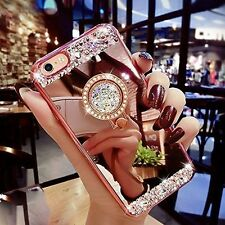 Luxury Bling Diamond Crystal Ring Holder Mirror Case Cover For Samsung / iphone