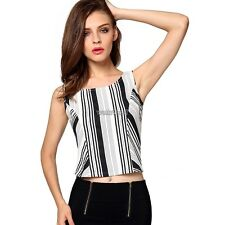 Angvns Women Fashion Sexy Lady Sleeveless O Neck Backless Stripe Patchwork WST